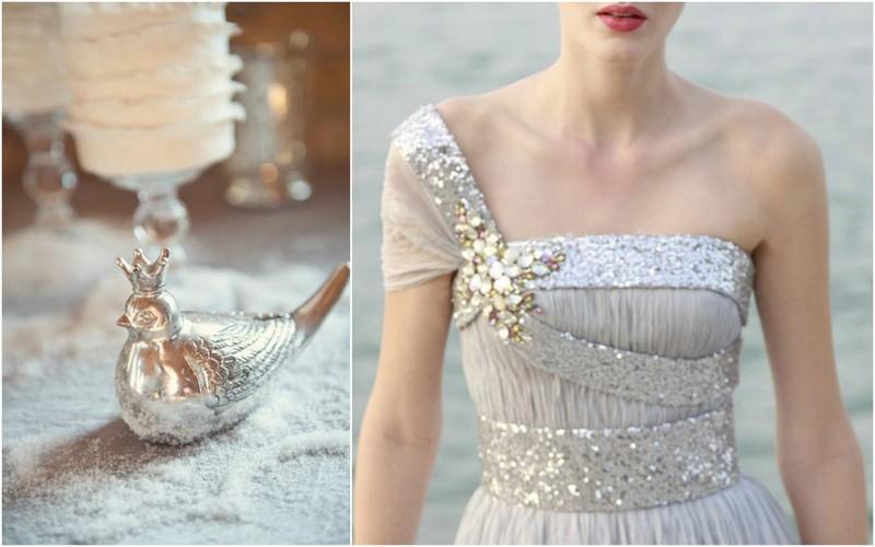 Sidabriniu vestuviu sukneles
